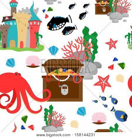 Cartoon sea animals and marine treasures seamless pattern. Vector illustration