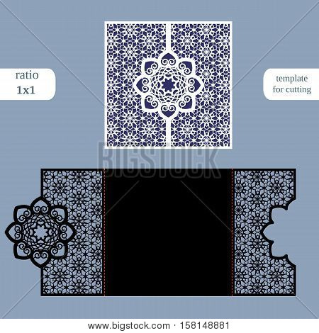 Paper openwork square greeting card wedding invitation template for cutting lace imitation cut on plotter metal plate cut by laser vector illustration