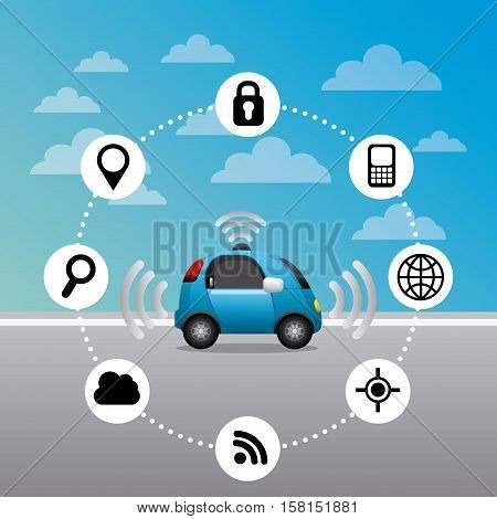 autonomous car vehicle with navigation icons around. ecology,  smart and techonology concept. colorful design.  vector illustration