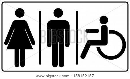 vector illustration of mens and womens disabled restroom sign - printable restroom, toilette signs, invalid icon. Vector symbols for public places, banner isolated on white, black silhouette