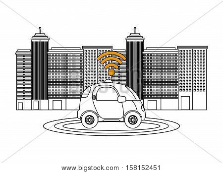silhouette of autonomous car vehicle with wireless waves over city background. ecology,  smart and techonology concept. vector illustration