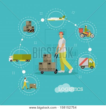 Vector Logistics delivery, transportation, warehouse concept infographic items, icons. Delivery by plane, ship, truck, scooter, removal of goods from warehouse by loader design elements in flat style.
