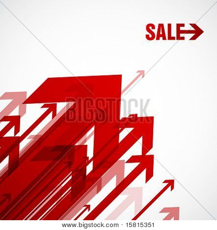 Red vector arrows with sale.