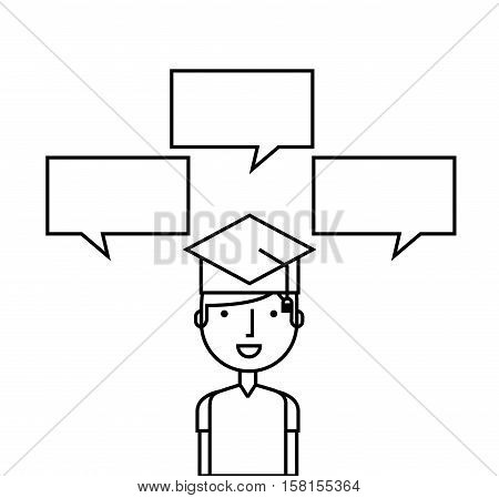 happy man with graduation cap and speech bubbles icon over white background. vector illustration