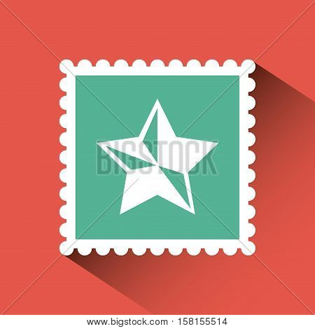 christmas post stamp with decorative star icon over red background. colorful design. vector illustration