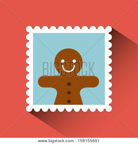 christmas post stamp with decorative ginger cookie icon over red background. colorful design. vector illustration