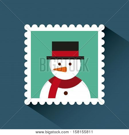 christmas post stamp with decorative snowman icon over background. colorful design. vector illustration