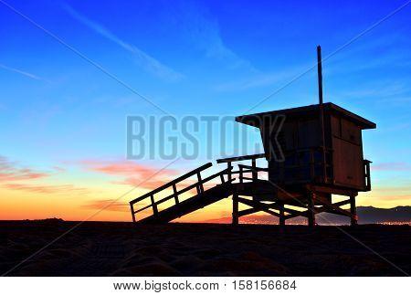 Venice Beach Lifeguard Stand at Sunset, USA