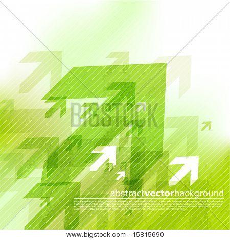 Fondo verde abstracto con flechas.