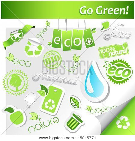 Reihe von grünen Ökologie Icons.