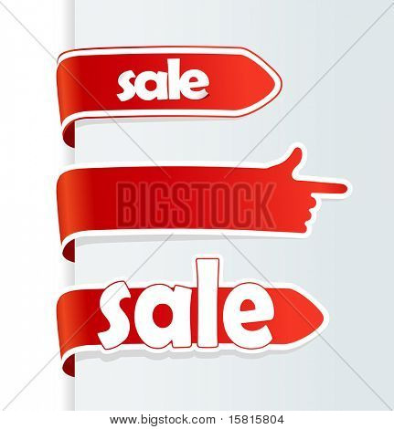Red sale arrows and finger showing direction.