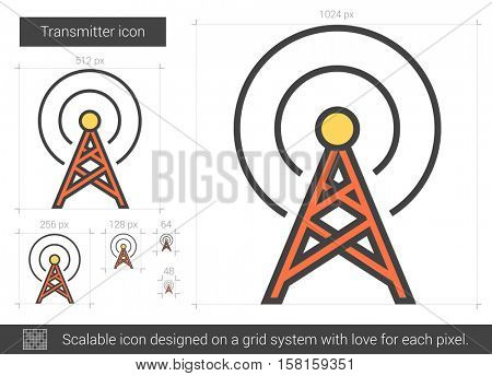 Transmitter vector line icon isolated on white background. Transmitter line icon for infographic, website or app. Scalable icon designed on a grid system.