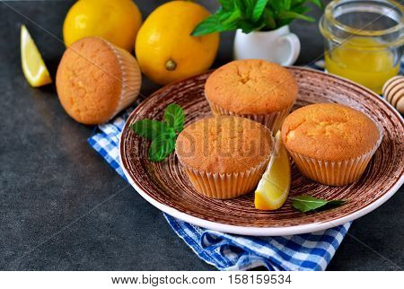 Homemade lemon muffins with honey and mint on a concrete background