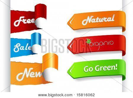 Conjunto de rótulos de venda coloridas em papel.