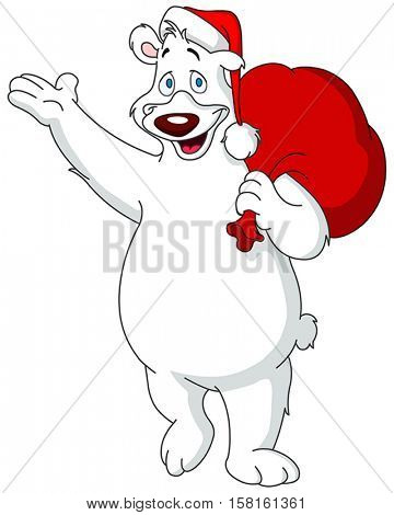 Happy polar bear wearing Santa Claus hat and carrying red gifts sack