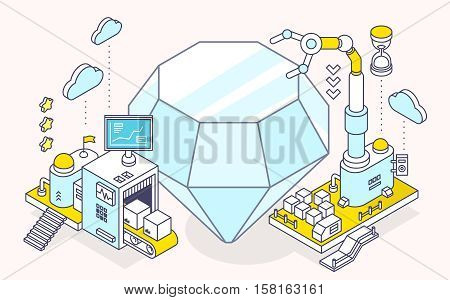 Vector illustration of diamond and three dimensional mechanism with conveyor and robotic hand on light background. Professional polishing and faceting tools. 3d thin line art style design