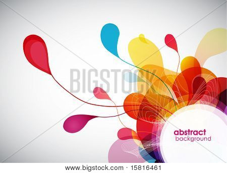 abstract colored background with leafs.