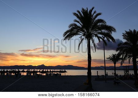 Beautiful sunset on the beach L'Arenal Balearic Islands Majorca (Mallorca) Spain