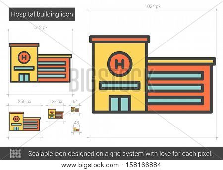 Hospital building vector line icon isolated on white background. Hospital building line icon for infographic, website or app. Scalable icon designed on a grid system.
