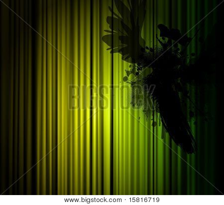 Dark Illustration mit Vogel mit grünes Licht.