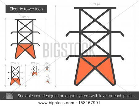 Electric tower vector line icon isolated on white background. Electric tower line icon for infographic, website or app. Scalable icon designed on a grid system.