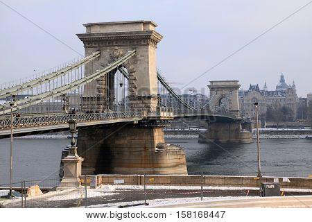 BUDAPEST, HUNGARY - JANUARY 5, 2016: Szechenyi Chain Bridge view from Danube side in winter, Budapest, Hungary.