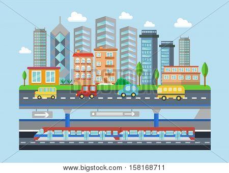 Vector Urban modern city landscape flat concept illustration. Smart city subway, cars, buildings and skyscrapers. Cityscape landscape