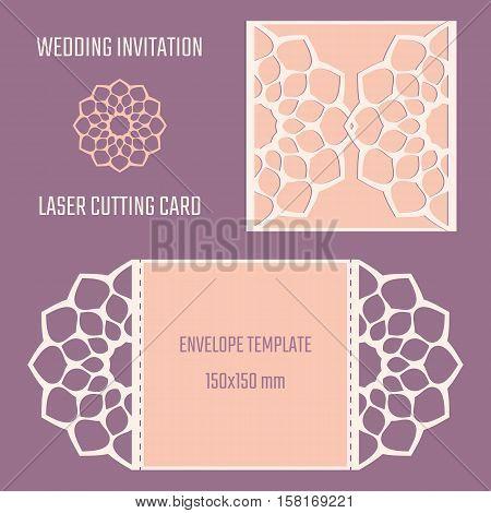DIY laser cut vector envelope. Wedding die cut invitation template. Cutout silhouette card. Fretwork envelope. Paper cutting. Scrapbook cutout template.