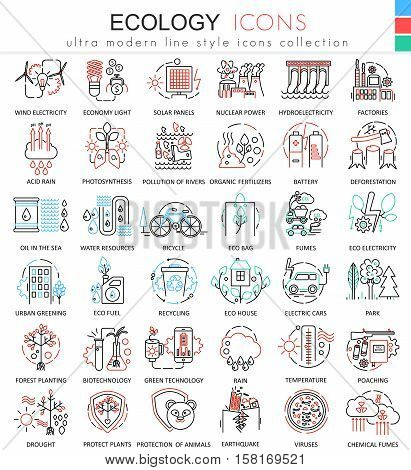 Vector Ecology color line outline icons for apps and web design. Ecology technology elements icons