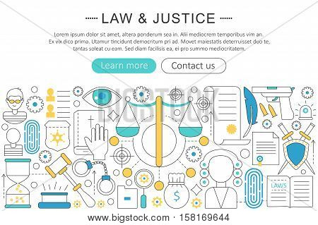 Vector modern line flat design Law and justice concept. Law and justice icons Website Header, app design poster banner