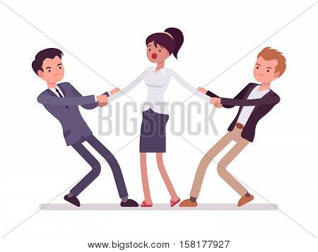 Men struggling for a woman testing strength, tugging her, pulling on opposite ends of her hands. Cartoon vector flat-style concept illustration
