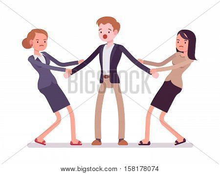 Women struggling for a man testing strength, tugging him, pulling on opposite ends of his hands. Cartoon vector flat-style concept illustration