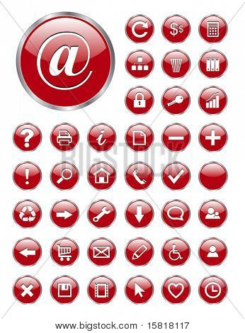 vector web icons red glass for business and office