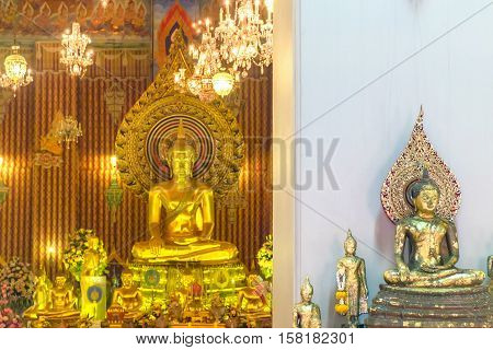 Bangkok, Thailand - January 8, 2016: Decoration and Gold Buddha Statue in the Buddhist temple Wat Chana Songkhram. It is located near popular street Khaosan road and district for tourists.