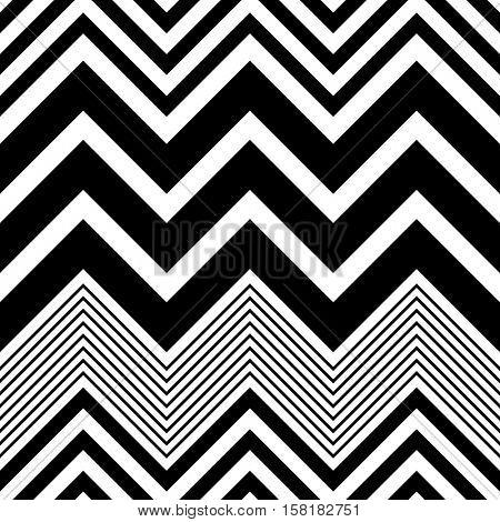 Seamless Zig Zag Pattern. Abstract  Monochrome Background. Vector Regular Texture. Minimal Geometric Stripe Wallpaper