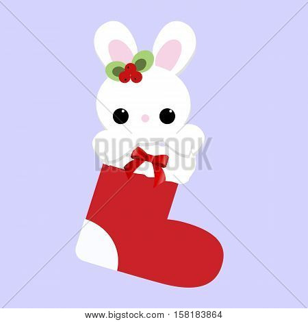 cute baby holiday Christmas a little white Bunny inside the sock. Template for greeting card or a poster. Christmas vector illustration. Baby shower