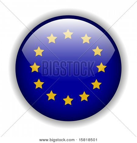 Europe EU flag button, vector