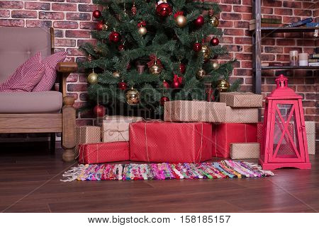 A lot of Christmas gifts under the tree