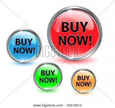 Buy now icon, button, vector illustration.