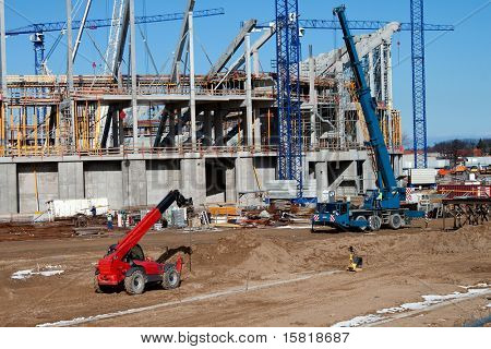 construction site with heavy equipment.
