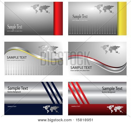 business card template design silver metallic with world map theme - vector.