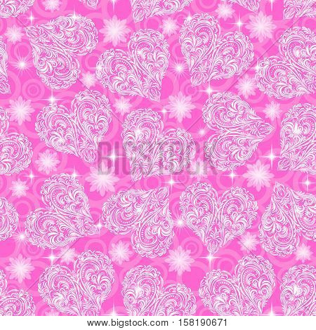 Seamless Pink Background, Valentine Holiday Hearts with Tile Pattern of White Symbolical Flowers, Plants, Stars and Rings. Eps10, Contains Transparencies. Vector