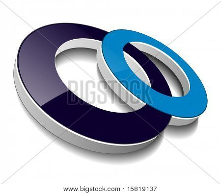 Icon, two circles blue and black, vector.