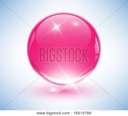 Bola de la esfera, rosa de cristal 3D. Ilustración del vector.