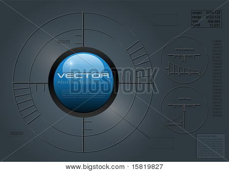 Abstract background with crosshair, reticle, vector.