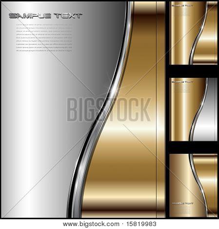 Resumen de oro de lujo de negocios fondo metálico, vector.