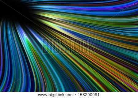 A colourful blue and green wavy light trails background
