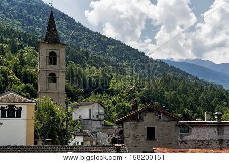 Village along the road to Passo Aprica (Sondrio Lombardy Italy) at summer