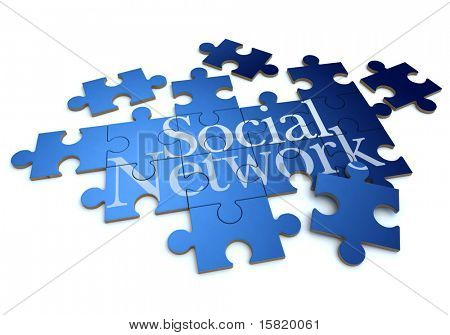 3D rendering of a forming puzzle with the words social network