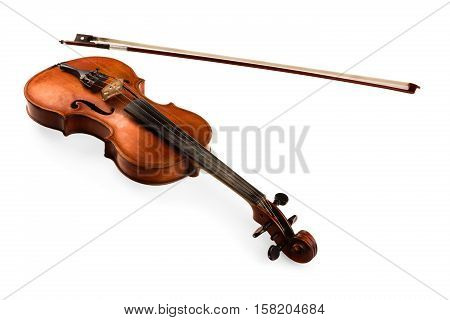 Top View of a Violin with Bow, Isolated on White